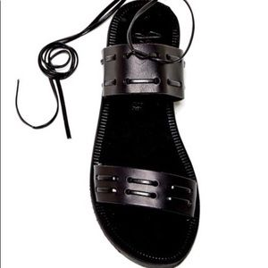 Joie Prisca Flat Leather Black Sandal size7